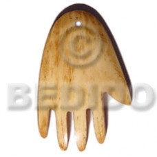 Bone Hand Natural White 40 mm Pendants - Bone Horn Pendants BFJ5615P