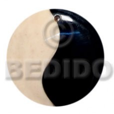 Bone Horn Yin Yang Black and White 40 mm Pendants - Bone Horn Pendants BFJ5689P