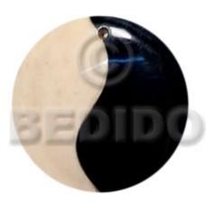 Bone Horn Yin Yang Black and White 40 mm Pendants - Bone Horn Pendants BFJ5689P