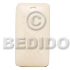 Bone Rectangular 40 mm White Pendants - Bone Horn Pendants BFJ5192P