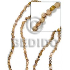Brown 16 inches Robles Wood Disc 5 x 7 mm Natural Wood Beads - Flat Round and Oval Wood Beads BFJ032