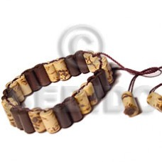 Brown Bamboo Weave adjustable Wood Bracelets BFJ5060BR