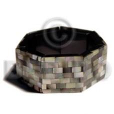 Brown Black Lip Shell Resin Backing Elastic Bangles - Shell Bangles BFJ047BL