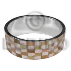 Brown Brown Lip Shell Laminated Stainless Metal 1 inch 65 mm Bangles - Shell Bangles BFJ121BL