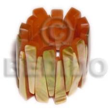 Brown Brown Lip Shell Resin Backing Elastic 58 mm Bangles - Shell Bangles BFJ013BL