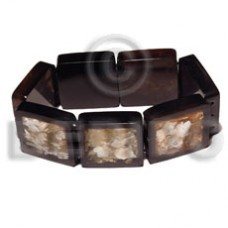 Brown Capiz Shell Resin Backing Elastic Bangles - Shell Bangles BFJ066BL