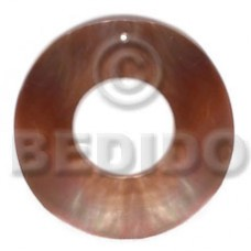 Brown Lip Shell 40 mm Brown Ring Pendants - Simple Cuts BFJ6203P