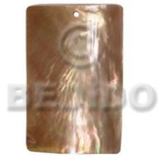 Brown Lip Shell 40 mm Rectangular Brown Pendants - Simple Cuts BFJ6262P