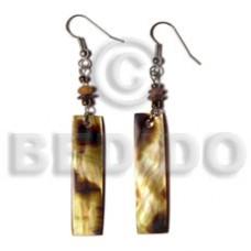 Brown Lip Shell Bar Horn Glass Beads Dangling 40 mm Brown Shell Earrings BFJ5030ER