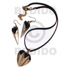 Brown Lip Shell Brown Leather Set Jewelry Earrings Necklace Set Jewelry BFJ035SJ