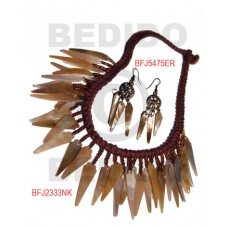 Brown Lip Shell Macrame thread Brown Set Jewelry Earrings Necklace Set Jewelry BFJ009SJ