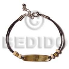 Brown Lip Shell Oval Wax Cord Sea Shell Bracelets BFJ5156BR