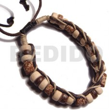 Brown Macrame Mahogany Beige Wax Cord adjustable Coconut Beads Wood Bracelets BFJ5267BR