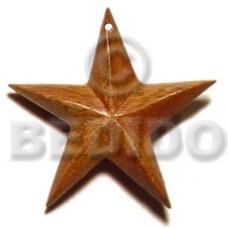 Brown Robles Wood Star 40 mm Pendants - Wooden Pendants BFJ5208P