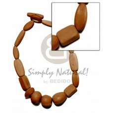 Brown White Wood Dyed Assorted Shapes 18 inches Wooden Necklaces BFJ1069NK