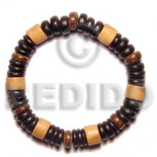 Brown Wood Beads Coconut Beads 7.5 inches Elastic Wood Bracelets BFJ5058BR