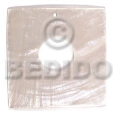 Capiz Shell 40 mm Square White Pendants - Simple Cuts BFJ6232P