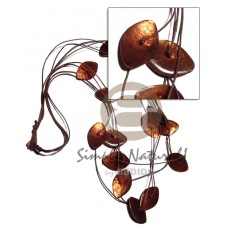 Capiz Shell Laminated Wax Cord Brown Amber Shell Necklace BFJ2775NK