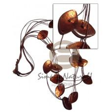 Capiz Shell Laminated Wax Cord Brown Amber Shell Necklace BFJ2775NK
