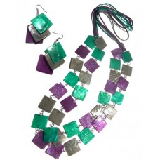 Capiz Shell Lavender Set Jewelry Earrings Necklace Green Set Jewelry BFJ200SJ