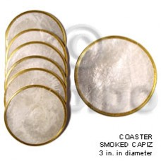 Capiz Shell Natural 3 inch Laminated Round Brass GIFT AND DECORS BFJ021GD