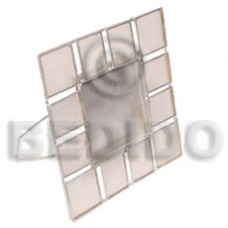 Capiz Shell Natural 4 inch Aluminum White Square GIFT AND DECORS BFJ058GD