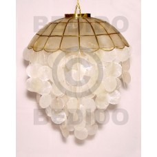 Capiz Shell Parisian Natural White 20 inch Brass Capiz Shell Chandeliers BFJ021CC