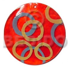 Capiz Shell Round Red 50 mm Pendants - Shell Pendants BFJ5367P