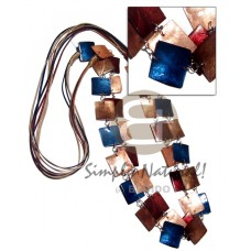 Capiz Shell Satin Cord Laminated Maroon Blue Square Shell Necklace BFJ2674NK