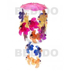 Capiz Shell Umbrella Multi-Color Capiz Shell Chandeliers BFJ005CC