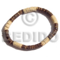 Coconut 4-5 mm Heishi Brown Natural Coconut Bracelets BFJ5018BR
