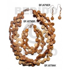 Coconut Beads Brown Set Jewelry 18 in necklace 7.5 Bracelets Earrings Set Jewelry BFJ080SJ