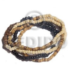 Coconut Beads Coconut Heishi Elastic Brown 2-3 mm Coconut Bracelets BFJ5043BR
