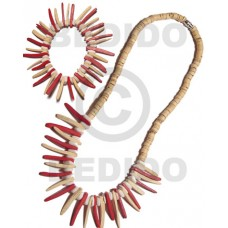 Coconut Beads Maroon Brown Set Jewelry Necklace Bracelets Set Jewelry BFJ089SJ