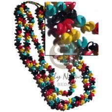 Coconut Beads Rasta Yellow Green Red Black Multi Row Unisex Reggae Rastafarian Accessory BFJ2387NK