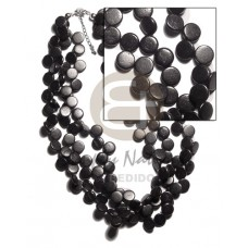 Coconut Beads Side Drill Multi Row Coconut Necklace BFJ1564NK