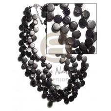 Coconut Beads Side Drill Multi Row Coconut Necklace BFJ1564NK