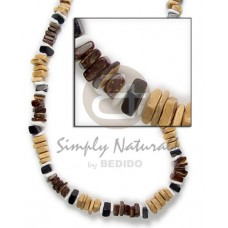 Coconut Beads Square Cut White Shell Brown Black Natural Dyed Coconut Necklace BFJ040NK