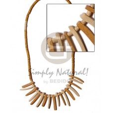 Coconut Beads Stick Tan Coconut Necklace BFJ335NK