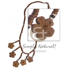 Coconut Flower Brown Coconut Necklace BFJ980NK