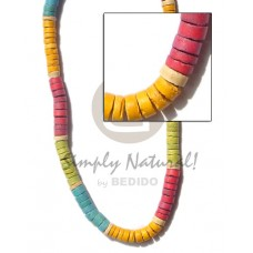 Coconut Heishi 7-8 mm Lime Green Red Mango Yellow Coconut Necklace BFJ161NK