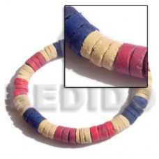 Coconut Heishi Blue Red Bleached White 7-8 mm Elastic Coconut Bracelets BFJ5017BR