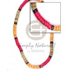 Coconut Heishi Brown Red Orange Black Multi-Color 4-5 mm Coconut Necklace BFJ043NK