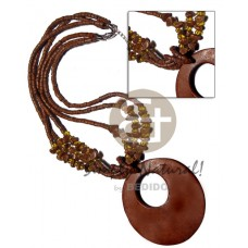 Coconut Heishi Coconut Beads Wood Golden Brown Buri Seed Multi Row Wooden Necklaces BFJ2562NK