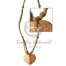 Coconut Heishi Heart Coconut Necklace BFJ351NK