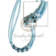 Coconut Heishi Multi Row Blue Black Peach Glass Beads Coconut Necklace BFJ1511NK