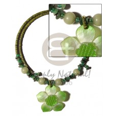 Coconut Heishi Olive Green Flower Buri Seed Coconut Necklace BFJ1255NK