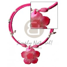 Coconut Heishi Pink Trocha Shell Hammer Shell Coconut Necklace BFJ1208NK