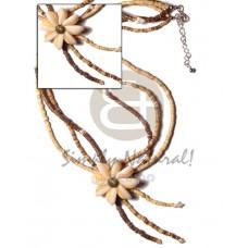 Coconut Heishi Sigay Cowry Shell Flower Brown Coconut Necklace BFJ388NK