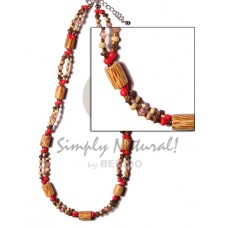Coconut Palmwood Acrylic Crystals Red Coconut Necklace BFJ437NK